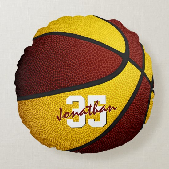maroon gold team colors boy girl basketball decor round pillow