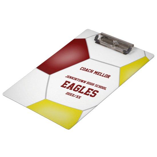 maroon gold team colors custom soccer coach clipboard