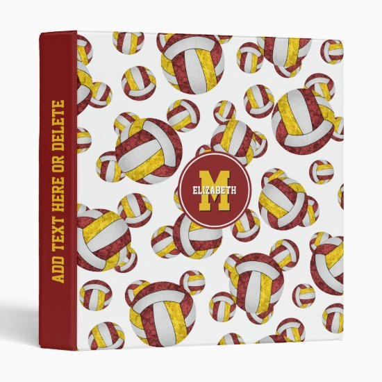 maroon gold team colors girly volleyball 3 ring binder