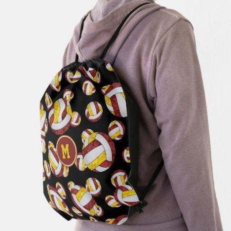 maroon gold team colors girly volleyballs pattern drawstring bag