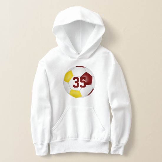 maroon gold team colors jersey number soccer hoodie
