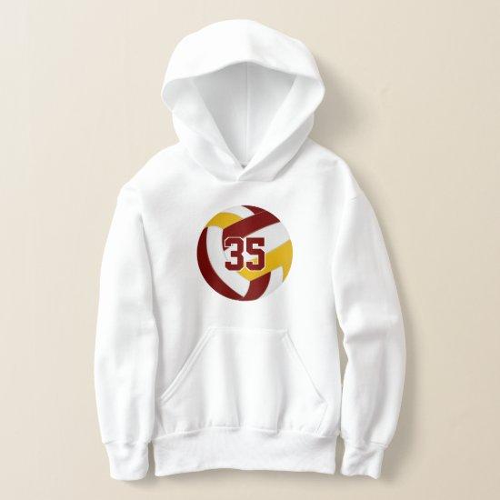 maroon gold team colors jersey number volleyball hoodie