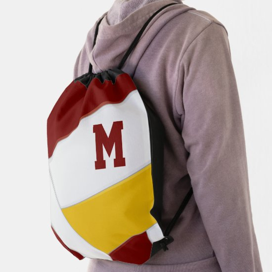 maroon gold team colors monogrammed volleyball drawstring bag