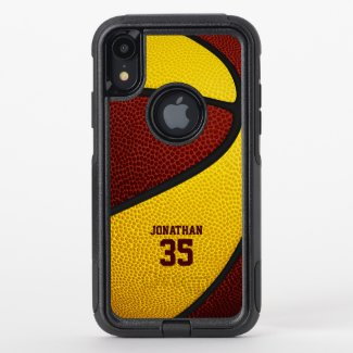 maroon gold team colors personalized basketball OtterBox iPhone case