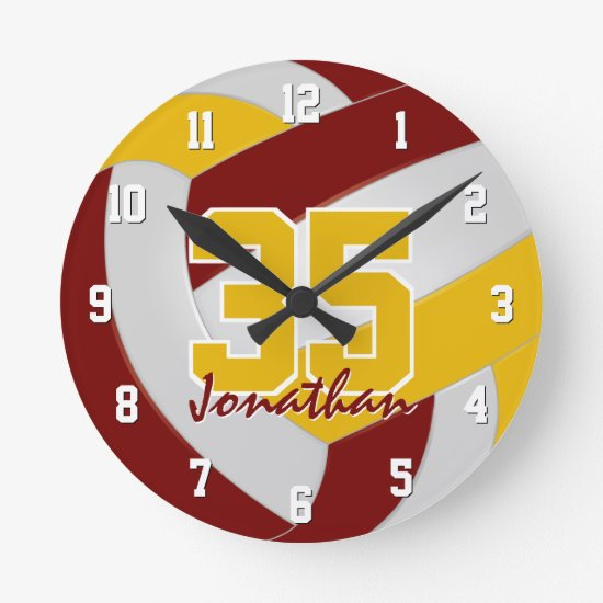 maroon gold team colors personalized volleyball round clock