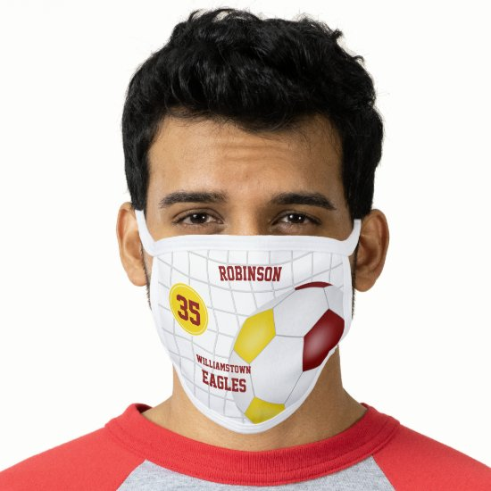 maroon gold team colors player name soccer face mask
