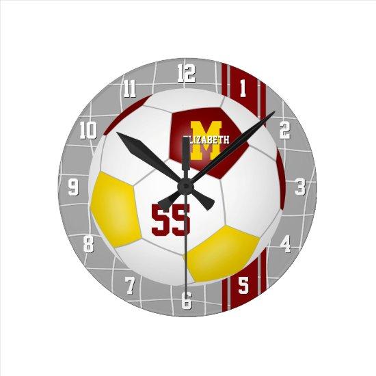 maroon gold team colors varsity stripes soccer round clock