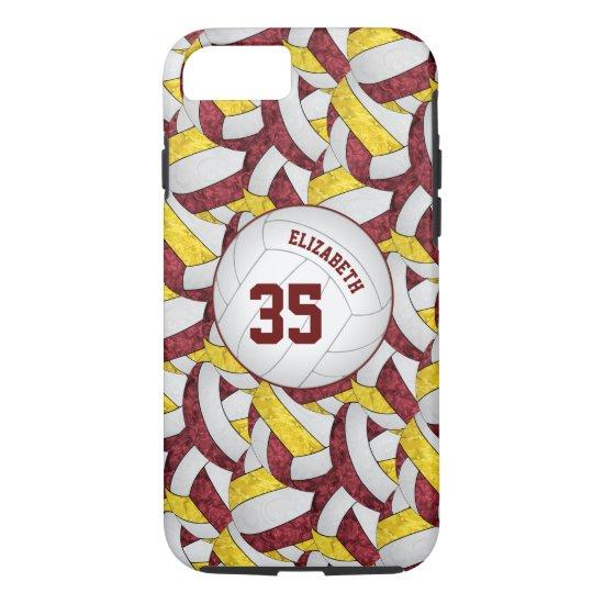 maroon gold team spirit girls' volleyball iPhone 8/7 case
