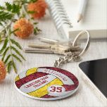 """maroon gold volleyball keychain w school team name<br><div class=""""desc"""">This maroon and gold volleyball keychain with custom team and school mascot name features a floral kaleidoscopic pattern blended with the gold and maroon volleyball panels and an artsy abstract swirl pattern blended with the white panels - her name and team name are customizable, as is her jersey number on...</div>"""