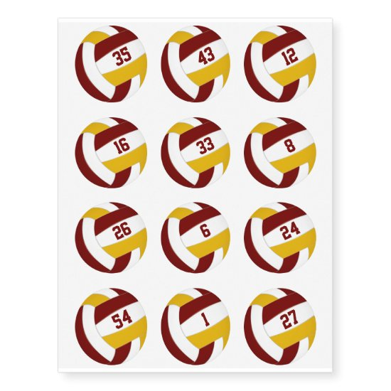 maroon gold volleyballs w jersey numbers set 12 temporary tattoos