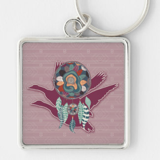 Maroon Goose Spirit Guide for Native American Keychain