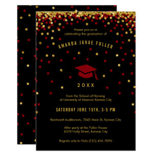 Red black graduation invitations zazzle maroon graduation invitation faux gold glitter filmwisefo