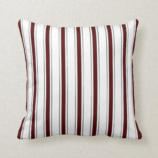 Maroon, Gray, and White Striped Pillow