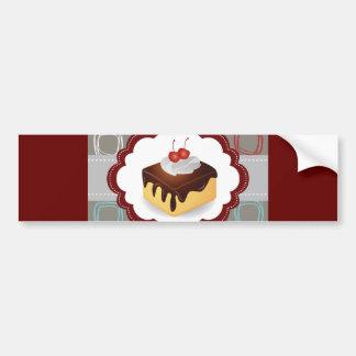 Maroon/Gray Cake with Cherries Bumper Sticker