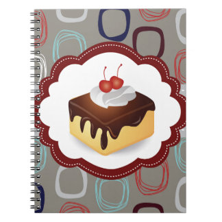 Maroon/Gray Cake with Cherries Notebook