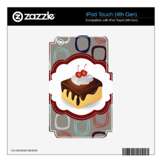 Maroon/Gray Cake with Cherries Decals For iPod Touch 4G