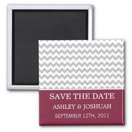 Maroon & Gray Chevron Save The Date Magnets
