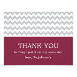 Maroon & Gray Chevron Wedding Thank You Cards