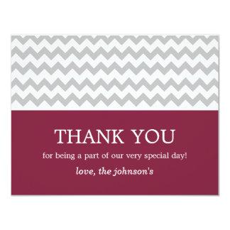 Maroon & Gray Chevron Wedding Thank You Cards