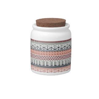 Maroon Gray Geometric Aztec Tribal Print Pattern Candy Dishes