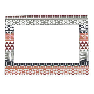 Maroon Gray Geometric Aztec Tribal Print Pattern Picture Frame Magnet