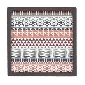 Maroon Gray Geometric Aztec Tribal Print Pattern Premium Jewelry Box