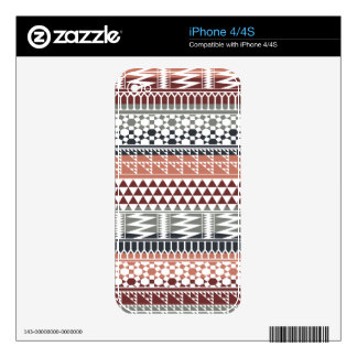 Maroon Gray Geometric Aztec Tribal Print Pattern Skin For iPhone 4S