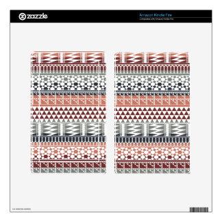 Maroon Gray Geometric Aztec Tribal Print Pattern Skin For Kindle Fire