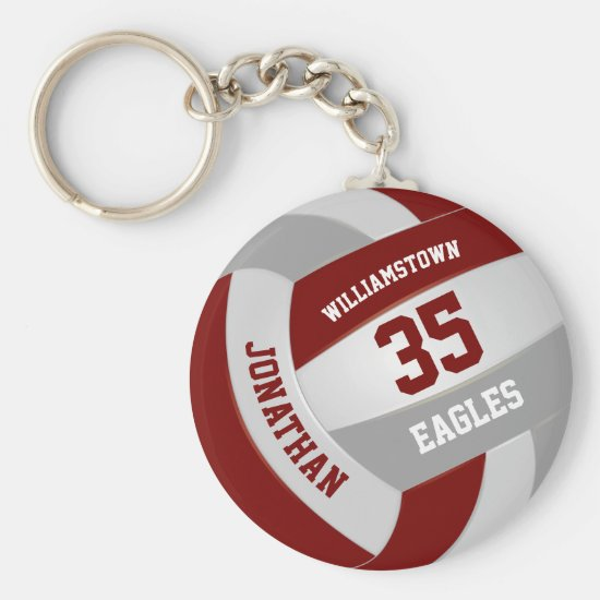 maroon gray sports team colors volleyball keychain