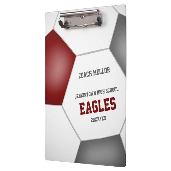 maroon gray team colors custom soccer coach clipboard