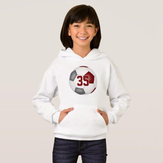 maroon gray team colors jersey number soccer hoodie