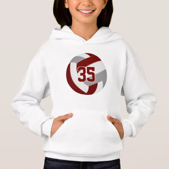 maroon gray team colors jersey number volleyball hoodie