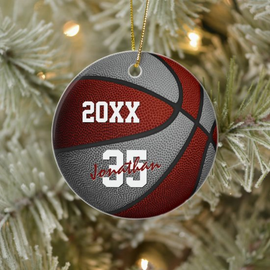 maroon gray team colors keepsake basketball ceramic ornament