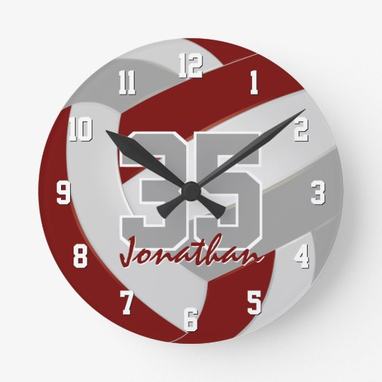 maroon gray team colors players name volleyball round clock