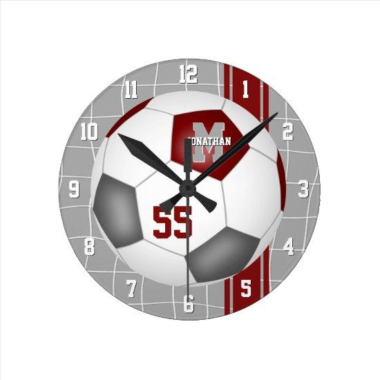 maroon gray team colors varsity stripes soccer round clock