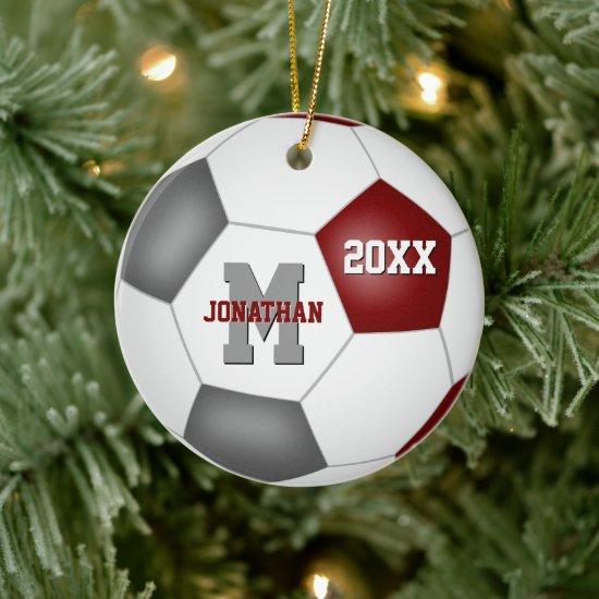 maroon gray team spirit boys girls keepsake soccer ceramic ornament