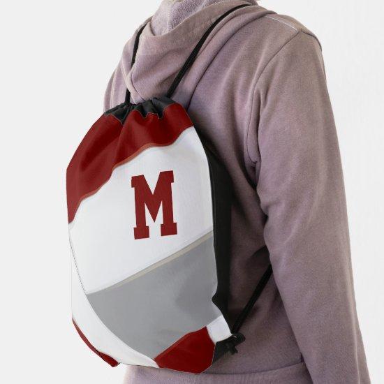 maroon gray volleyball girl boy school colors drawstring bag