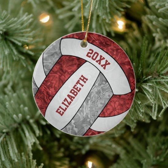 maroon gray white girly sporty keepsake volleyball ceramic ornament