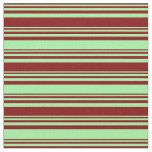 [ Thumbnail: Maroon & Green Colored Stripes/Lines Pattern Fabric ]