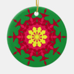 Maroon green mandala christmas ornament