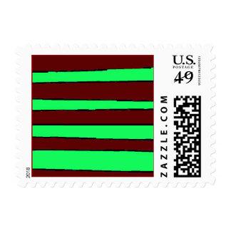 Maroon Green Skewed Stripes Stamps