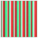 [ Thumbnail: Maroon, Green, White & Red Colored Stripes Fabric ]