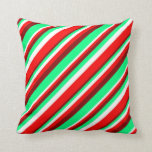 [ Thumbnail: Maroon, Green, White & Red Colored Stripes Pillow ]