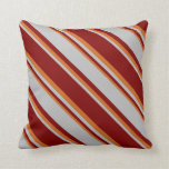 [ Thumbnail: Maroon, Grey, and Chocolate Colored Pattern Pillow ]