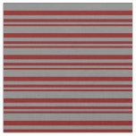 [ Thumbnail: Maroon & Grey Lined Pattern Fabric ]