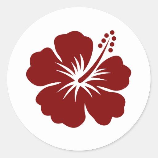 Maroon Hibiscus flower Stickers