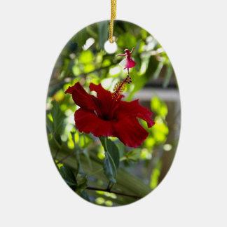 Maroon Hibiscus Shadow Fairy Ornament