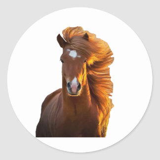 MAROON HORSE 1.PNG CLASSIC ROUND STICKER