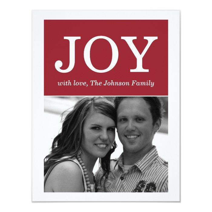 Maroon Joy Design Photo Holiday Flat Cards
