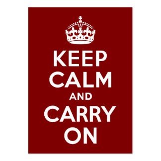 Maroon Keep Calm and Carry On Business Cards